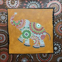 Aboriginal painting Dot art Aboriginal Dot Art, Aboriginal Painting, Paper Mache Letters, Dot Art Painting, Mandala Dots, Ganesh, Elephants, Stones, Crafty