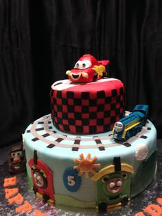 Lightening McQueen & Thomas the Train birthday cake At that point, I'd use toys instead of fondant - yikes!