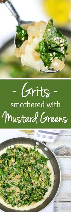 Grits Smothered with Mustard Greens is a healthy, nutrient-rich, vegan dinner. Healthy Food Blogs, Healthy Eating, Vegan Recipes, Cooking Recipes, Cooking Rice, Grits Recipe, Mustard Greens, Kamut, Vegan Dishes