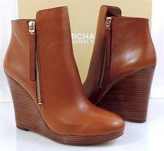 Women MICHAEL Michael Kors CLARA BOOTIE Wedge Platform Leather Luggage $249.