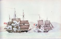 """The French 'Ligurienne' and  the British covette 'Petrel' exchanging broadsides 20 th March 1800"", Antoine Roux, 1765-1835"