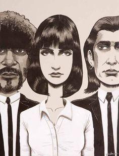 PULP FICTION: Retratos hablados de Jules, Mia y Vincent.