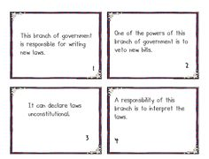 FREE Branches of Government Card Sort