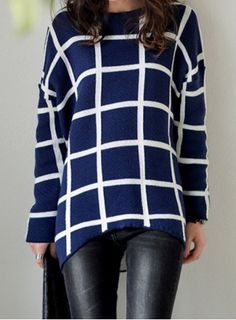 Vintage Jewel Neck Long Sleeves Plaid Asymmetric Sweater For Women