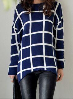 Vintage Jewel Neck Long Sleeves Plaid Asymmetric Sweater For Women