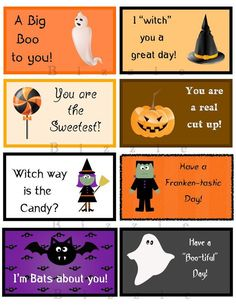 Fun Halloween Lunch Notes for Kids by ABizzieMom on Etsy