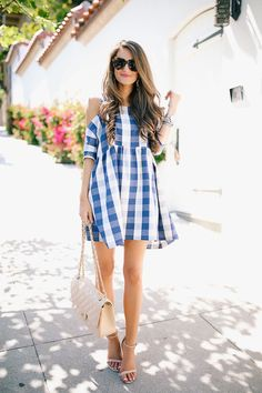gingham cold shoulder dress and nude accessories