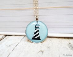 Lighthouse Necklace Nautical Pendant Small Baby Blue by Jugosa, $12.00