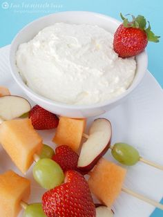 Creamy Vanilla Fruit Dip    8 ounces cream cheese softened to room temperature   8 ounces whipped topping    1 (3.4 oz) package instant vanilla pudding    1 (6 oz) container vanilla yogurt   Instructions  In a bowl, combine pudding mix with yogurt. Stir until pudding mix is dissolved.  Blend cream cheese and pudding/yogurt mix together. Fold in whipped topping until thoroughly combined.