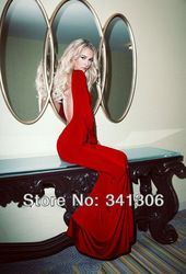 Online Shop 2014 Best Design Sexy Backless Red White Fuchsia Spandex Long Sleeves Floor Length Prom Dresses |Aliexpress Mobile