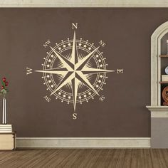 Compass Rose with Stars Vinyl Wall or Ceiling Decal - nautical nursery room K625 in Home & Garden, Home Décor, Decals, Stickers & Vinyl Art | eBay
