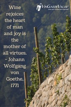 """""""Wine rejoicse the heart of man and joy is the mother of all virtues."""" - Johann Wolfgang von Goethe, 1771"""