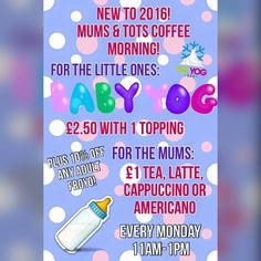 Don't forget every Monday we have a Mums & Tots morning full of offers! 10% discount on all adult FroYo's 1 on all hot drinks & 2.50 baby yog's for the little ones!  #froyo #offers #frozenyogurt #wirral #mums #tots #discount #monday #morning #coffee #tots #theyogbar #hoylake #liverpool by theyogbar