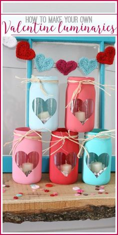 how to make your own Valentine Luminaries – simple and cute, my kind of project! – – Sugar Bee Crafts how to make your own Valentine Luminaries – simple and cute, my kind of project! Valentines Day Party, Valentine Day Love, Valentines Day Decorations, Valentine Day Crafts, Holiday Crafts, Office Decorations, Mason Jar Crafts, Mason Jar Diy, Bee Crafts