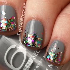 Love the multicolor glitter gradient on a gray/neutral base! | The Nailasaurus | UK Nail Art Blog: Glitter