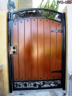 Wooden Gates, Wood Doors, Advanced Iron Concepts Call For Wood Entry Doors At Iron Gate Design, House Gate Design, Fence Design, Metal Gates, Wooden Gates, Wrought Iron Gates, Wood Entry Doors, Patio Doors, Tor Design