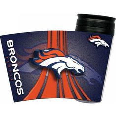 Denver Broncos Insulated Travel Tumbler Mug 16 oz. Double wall acrylic travel mug with a seal-able top cover. Features vortex wrap design of your favorite NFL football team and non slip bottom. Officially licensed by NFL. Denver Broncos Gear, Broncos Fans, Bronco Car, Broncos Merchandise, Discount Shopping Sites, Nfl Football Teams, Acrylic Tumblers, Insulated Travel Mugs, Ml B