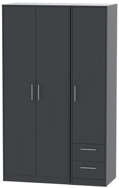 Buy Tokyo Bay 3 Door 2 Right Drawer Tall Wardrobe online by Welcome Furniture from CFS UK at unbeatable price. Wooden Wardrobe, Wardrobe Furniture, Oak Wardrobe, Wardrobe Closet, Mirrored Wardrobe, Clothes Cabinet Bedroom, Bedroom Cupboard Designs, Bedroom Cupboards, Single Wardrobe
