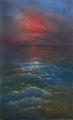 Cuban Art Gumersindo Barea - Paisaje Marino con Puesta de Sol (Maritime Landscape at Sundown) Gumersindo Barea 1933 oil on board 19 1/4 x 11 3/4 inches 01912