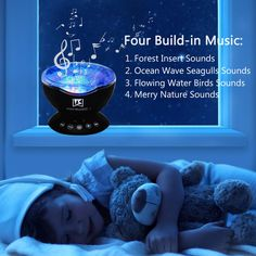 (Wall Adapter Included) Weirdbeast Remote Control Ocean Wave Projector 12 LED and7 Colors Night Light with Builtin Mini Music Player for Living Room and Bedroom Black Adapter *** Click image to review more details. (This is an affiliate link and I receive a commission for the sales) #NurseryDcor