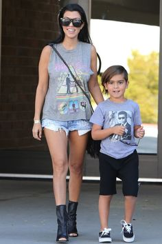 Kourtney Kardashian and son Mason are all smiles as they leave a local store in Calabasas