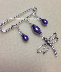 Dragonfly Beaded Shawl Pin, Purple Kilt Pin, Brooch for Scarf Scarf Jewelry, Clay Jewelry, Beaded Jewelry, Safety Pin Jewelry, Safety Pins, Beaded Brooch, Brooch Pin, Kilt Pin, Diy Jewelry Findings