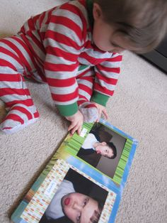 DIY board book. Making one of these with faces of his family and friends. He loves books with people's faces and all the pictures around the house, so why not combine the two!