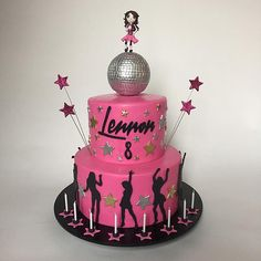 80s Disco Dance Party Cake, with disco ball and dancing figure.  All details in fondant. Disco Ball made out of Rice Krispies Treats covered in fondant.