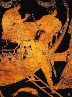 Jason and the Argonauts. detail from an Athenian red figure clay vase c.425-375 BC.