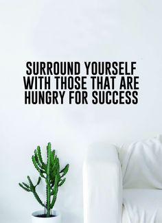 Hungry for Success Quote Wall Decal Sticker Room Bedroom Art Vinyl Inspirational Decor Motivational Inspirational Gym Fitness - teal