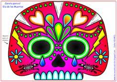Me encanta escribir en español: Caretas de calaveras para la fiesta del Día de los Muertos Mexico Day Of The Dead, Sugar Scull, Origami, Skull Crafts, Ideas Para Fiestas, Mexican Art, Crafts For Kids, Paper Crafts, Clip Art