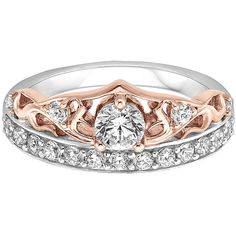 Enchanted Disney Diamond Tiara Engagement Ring in 14K Rose and White... ($1,475) ❤ liked on Polyvore featuring jewelry, rings, white, 14k white gold ring, white gold rings, diamond engagement rings, engagement rings and round engagement rings