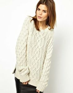 Y.A.S Cosy Cable Knit Sweater in Angora