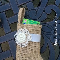 New! Mini Burlap Stocking, with Ivory Vintage Cluny Lace and Rosette