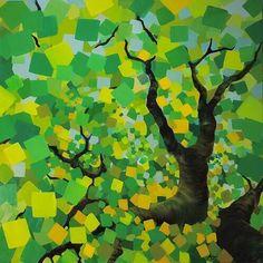 Alison Jardine - 'Summer Trees: Ready to Jump' ~ 50″ x 50″ oil on canvas (2010) -  #art #painting