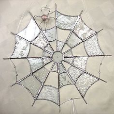 Handmade Stained Glass New Round Spider Web Clear Glass | eBay