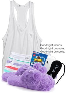""":3 night set xx."" by deshariaaa ❤ liked on Polyvore"