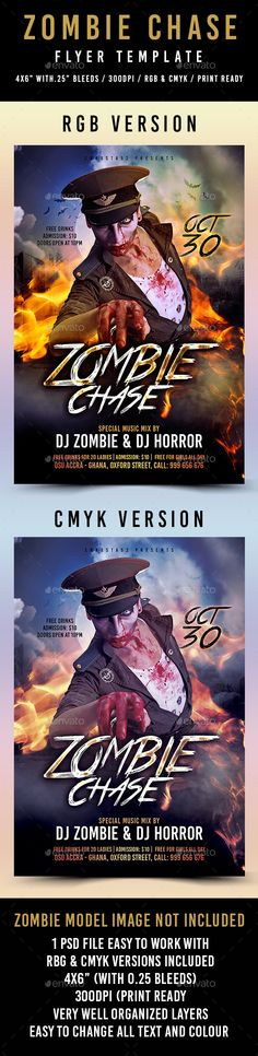 Different Character of Zombies Zombies and Of - zombie flyer template
