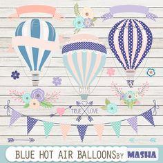 Hot air balloons clip art: Blue Hot Air Balloon by MashaStudio #blue #navy #hot #air #balloon #clipart #clip #art #mint #baby #digital #download #scrapbooking #floral #bouquet #ribbon #banner #bunting #white #wood #digital #paper #arrow