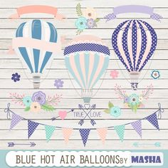Hot air balloons clip art: Blue Hot Air Balloon by MashaStudio #blue #navy #hot…