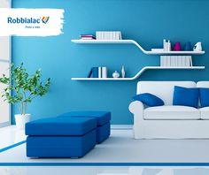 Inspire-se nas ilhas gregas e ao mais puro dos brancos junte o azul! #cor #harmonia  #decoração #azul #branco #inspiração #sala #sofa