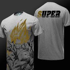 417977b6 Dragon Ball Z Son Goku Tshirt DBZ Gray T-shirt for Boys Mens Super Vegeta