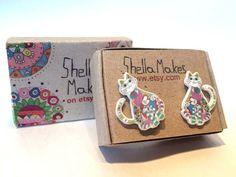 Cat stud earrings cat earrings hand drawn earrings by ShellaMakes