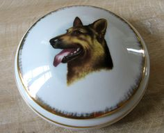 SOLD Limoges German Shepherd trinket box. Porcelaine d'art from France round container, mint condition. Gold edging. Great gift for a dog lover. @PumpjackPiddlewick on Etsy