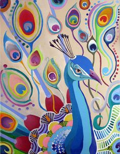 Peacock Large print of Original Painting by ashleywhitejacobsen