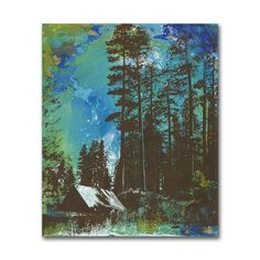 Panel Painting Art on Wood Camping Blue Green by dolangeiman