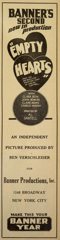"""The Moving Picture World – June 28 1924: """"Empty Hearts"""" with Clara Bow, John Bowers, Claire Adams and Charles Murray"""