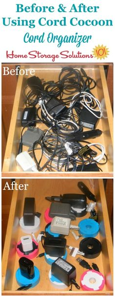 How to organize a drawer full of cords and cables using a cord organizer, such as the Cord Cocoon {featured on Home Storage Solutions 101}