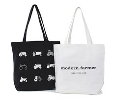 Show your tractor (and Modern Farmer!)pride with this unique, beautifully designed tote. Roomy enough to take to the farmers market or to just lug your everyday things around. Silk screened on two sides and available in either black or white. Made in America Size: 18″w x 15″h x 7″side Handles: 25″ cotton