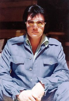 "3rd Feb 1976 - a somber looking ELVIS at his Graceland Mansion on the day he recorded 'Solitaire' in the Jungle Room for the Elvis Presley Boulevard L.P.  The ""den off the kitchen"" was not named the Jungle Room until after Elvis passed away."